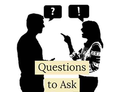 Man asking woman a question
